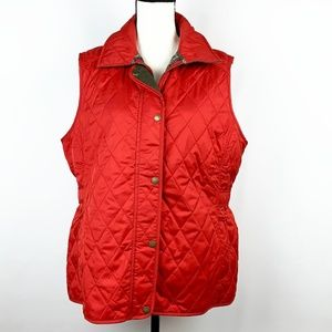 L.L. Bean Red Quilted Riding Vest